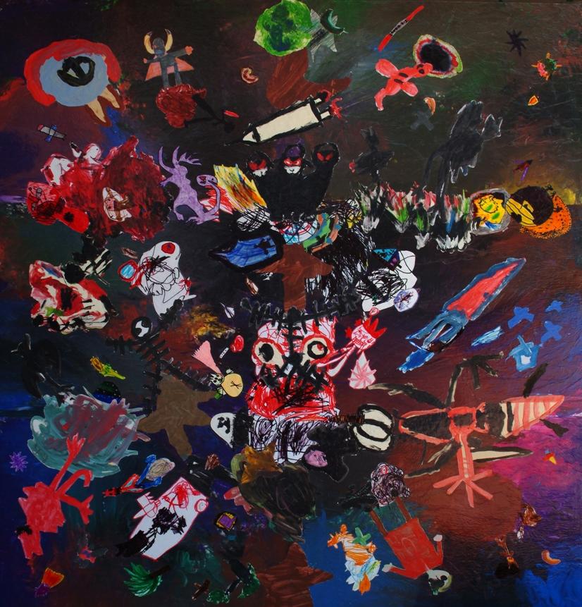 Guerre Stellari, 2004 - 200x200 cm - collage of children's tempera paintings - € 2.000